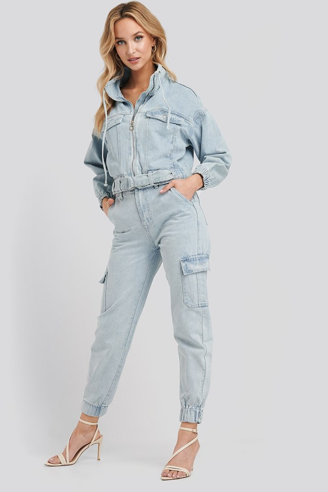 Stella Denim Cargo Pants Blue Outfit