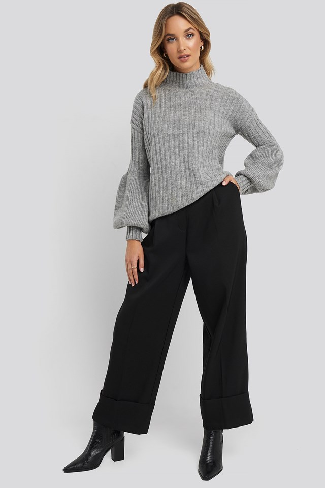 High Neck Puff Sleeve Knitted Sweater Outfit