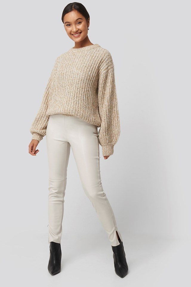 Multi Color Balloon Sleeve Knitted Sweater Beige Outfit