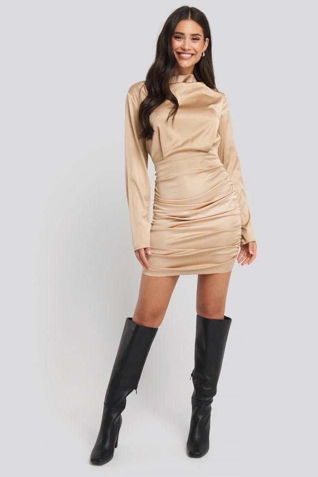 Draped Satin Mini Dress Gold Outfit