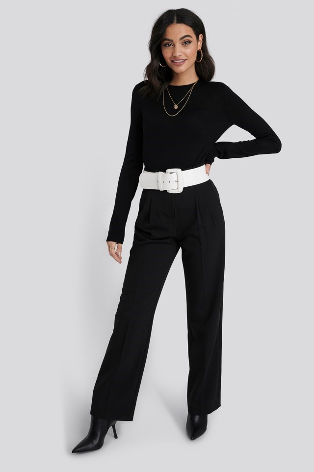 Fine Knit Crew Neck Sweater Black Outfit