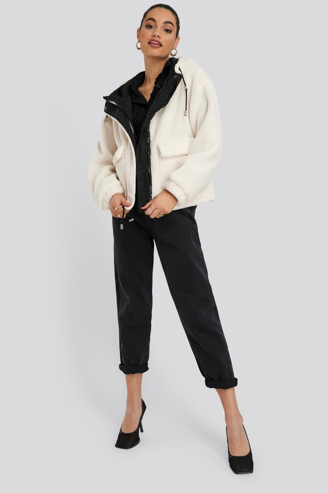 Shearling Hooded Jacket White Outfit