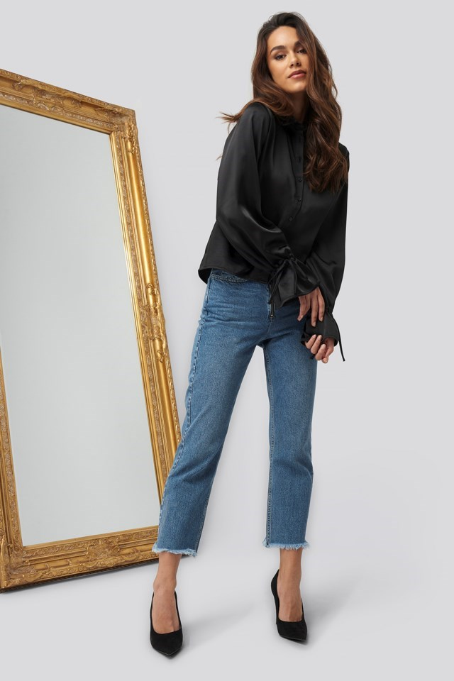 Sleeve Detail Satin Blouse Black Outfit