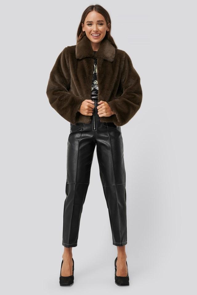 Dark Brown Faux Fur Jacket