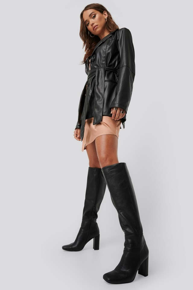 Faux Leather Tied Waist Blazer Outfit
