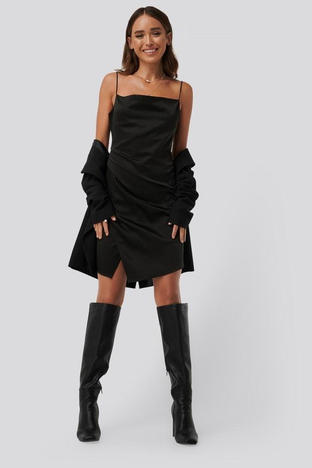 Draped Satin Dress Outfit