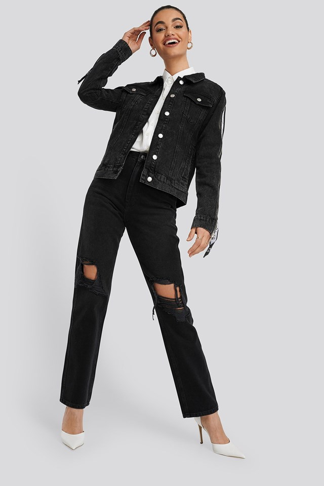 Tape Zip Detail Denim Jacket Black Outfit