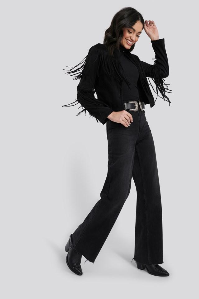 Fake Suede Fringe Jacket Black Outfit