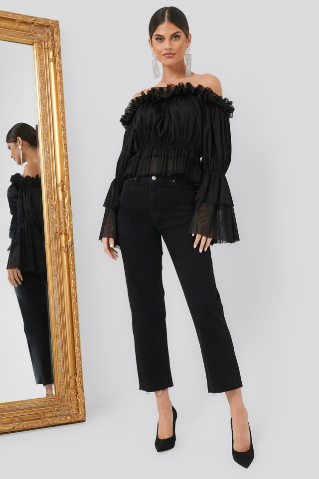 Tulle Blouse Black Outfit
