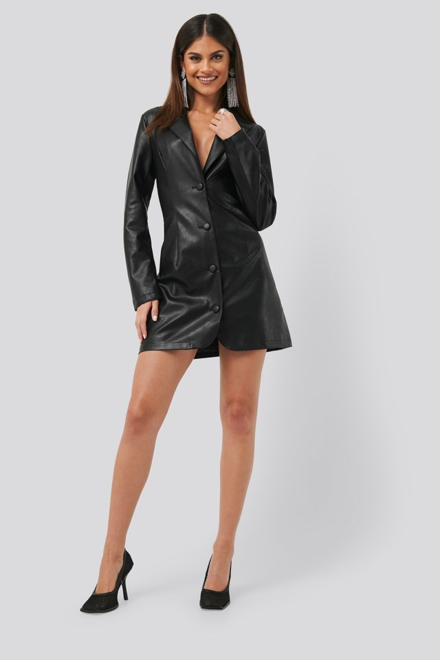 PU Blazer Dress Black Outfit