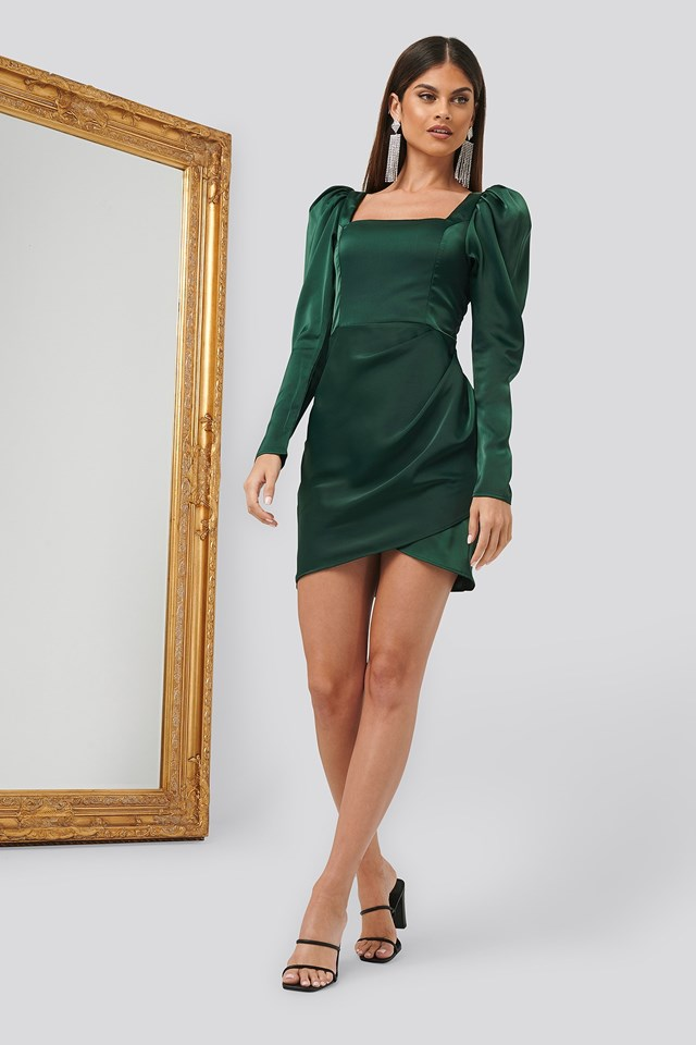 Square Neck Puff Sleeve Dress Green Outfit