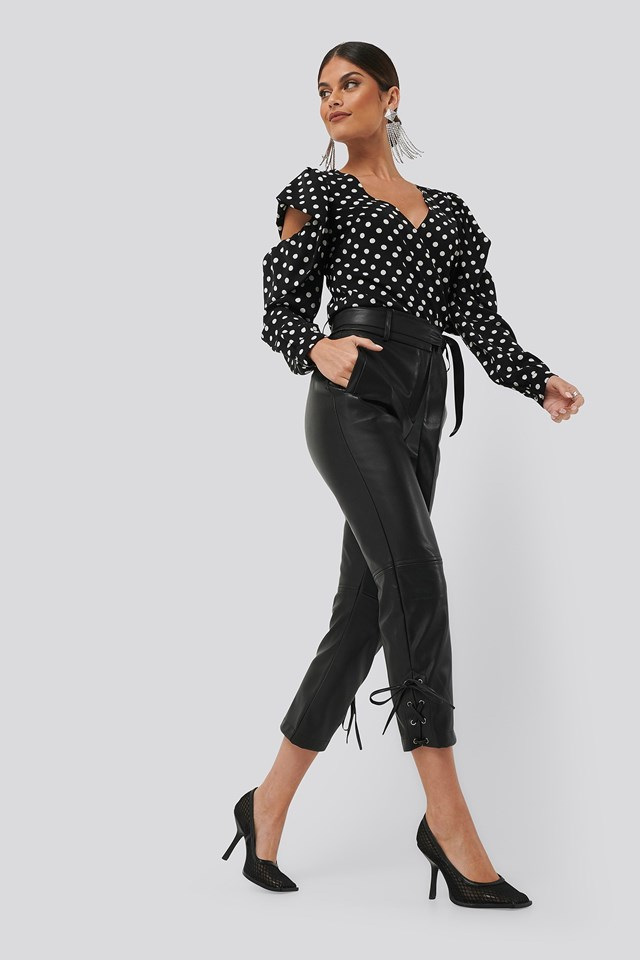 Cut Detail Dotted Blouse Black Outfit