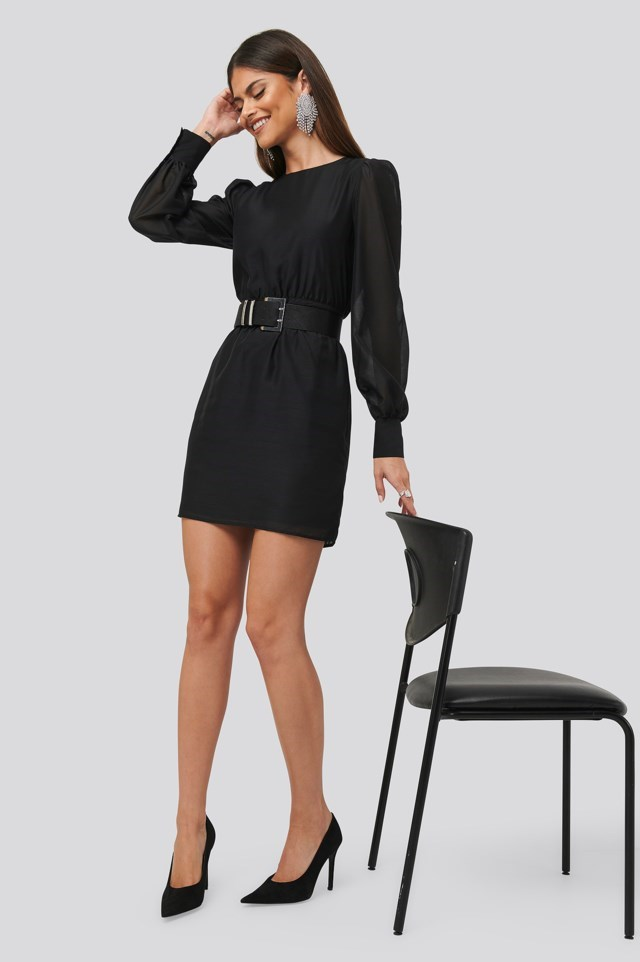 Belted Puff Sleeve Dress Outfit.