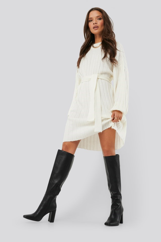 Oversized Tie Knitted Dress Outfit