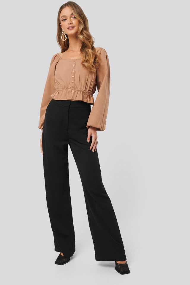 Puff Sleeve Button Blouse Outfit
