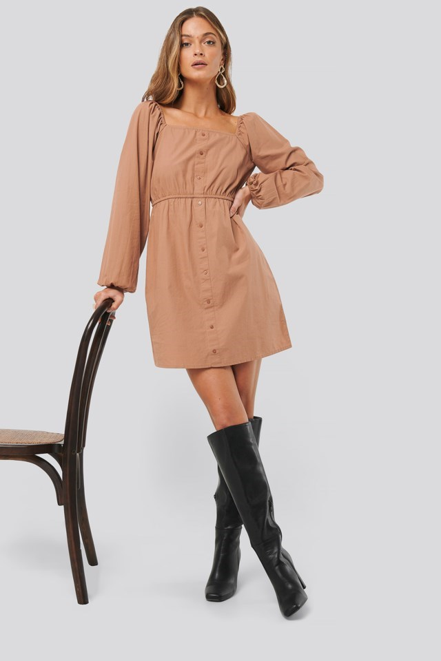 Puff Sleeve button Up Dress Outfit