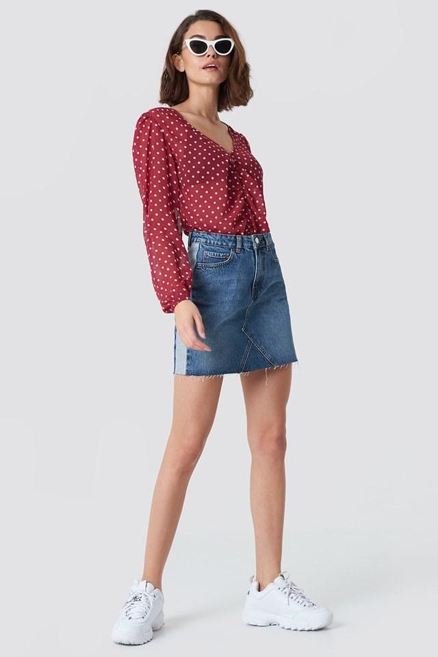 Denim Skirt with Feminine Blouse