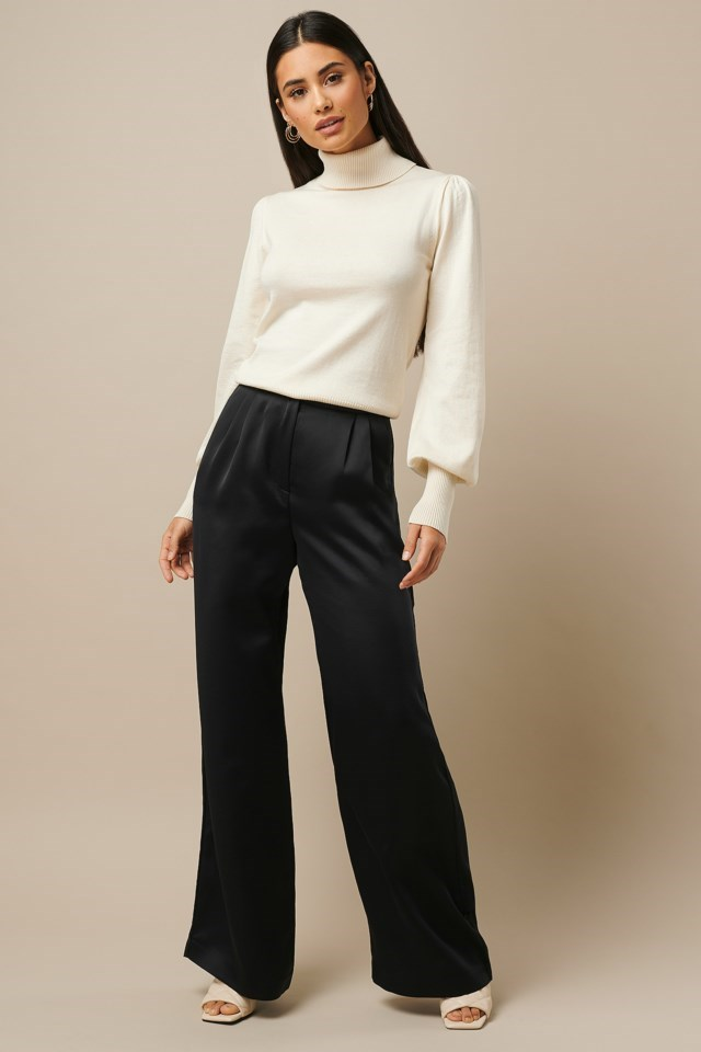 High Neck Puff Sleeve Sweater White Outfit