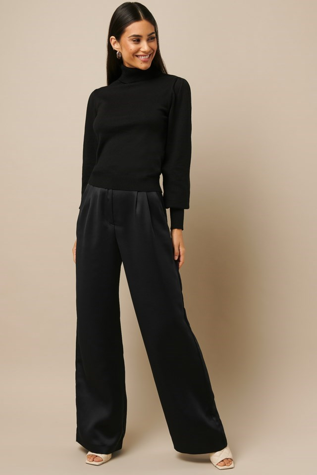 High Neck Puff Sleeve Sweater Black Outfit