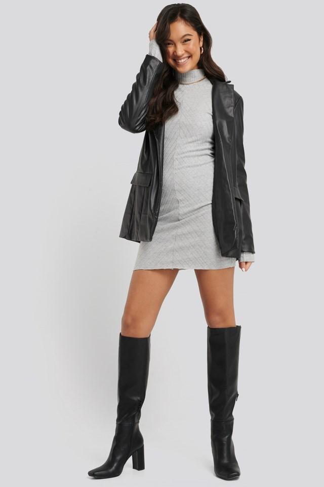 Diagonal Rib Dress Outfit.