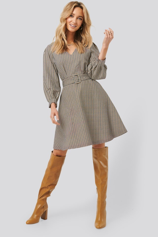 Belt Detailed Plaid Dress Outfit.