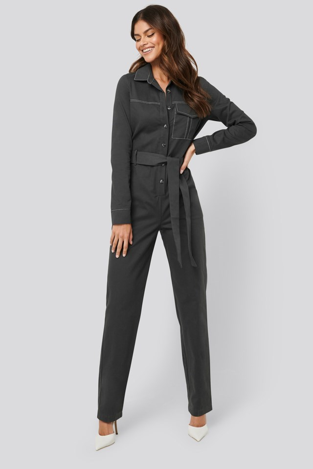 Contrast Seam Jumpsuit Outfit