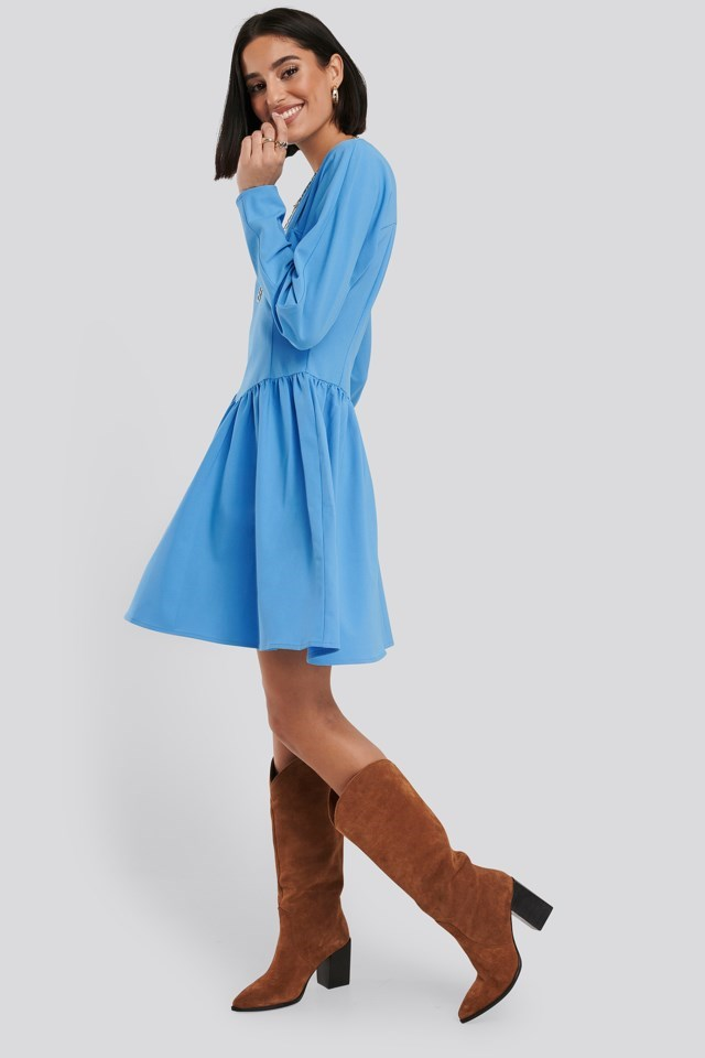Gathered Neck Mini Dress Blue Outfit