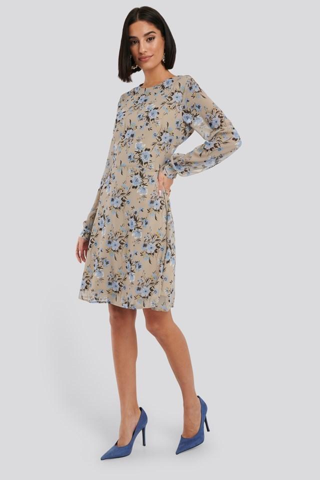 Cut Out Back Chiffon Mini Dress Multicolor Outfit