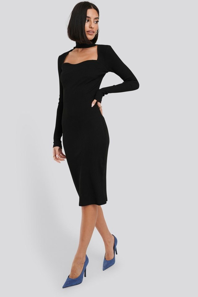 Cut Out Turtle Neck Ribbed Midi Dress Black Outfit