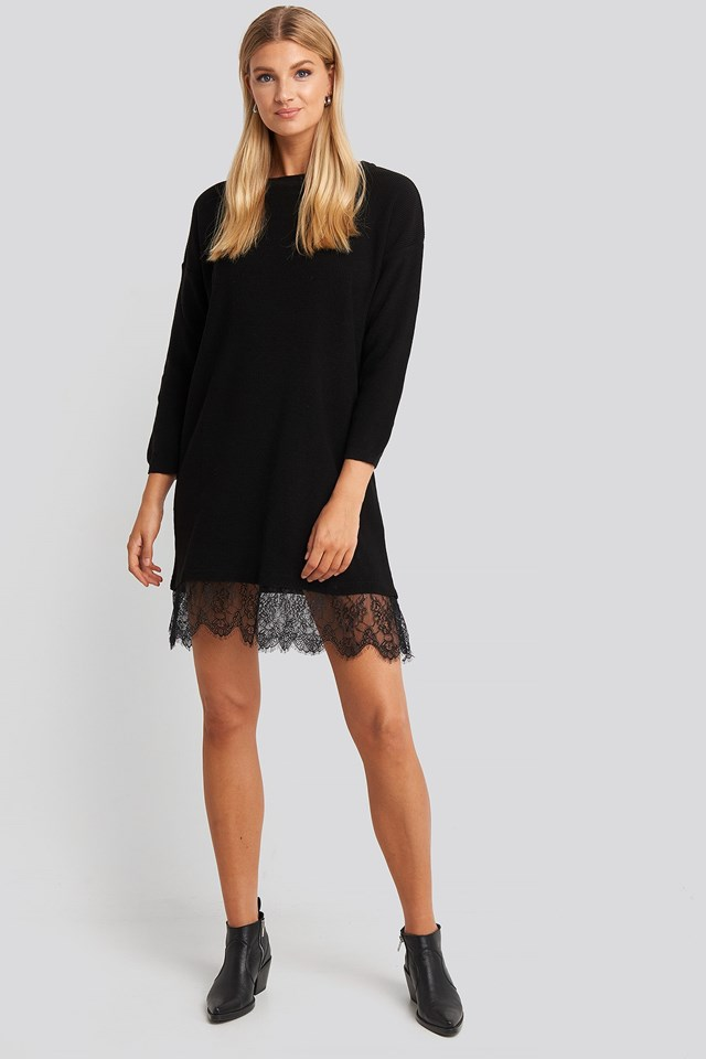 Lace Detailed Sweater Dress Black Outfit