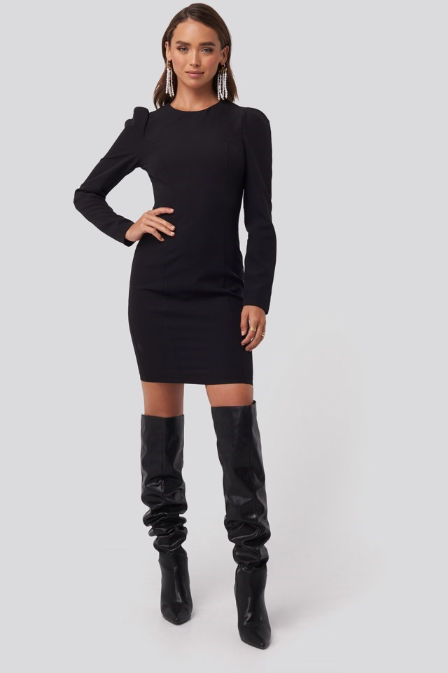 Mini Puff Sleeve Dress Black Outfit