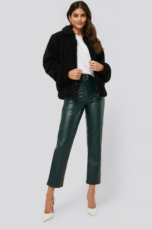 Teddy Zipper Jacket Outfit