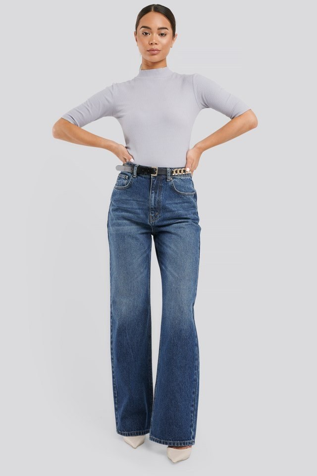 High Waist Straight Jeans Outfit.