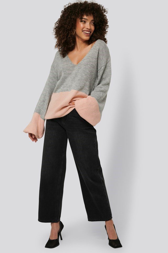 Two Coloured Puff Sleeve Sweater Outfit