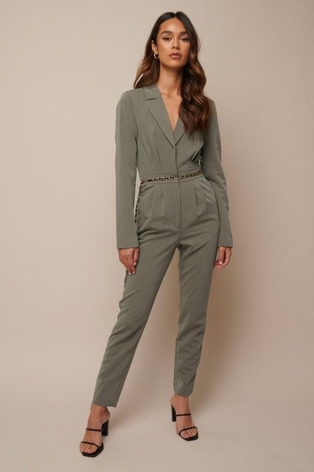 Long Sleeve Suit Jumpsuit Outfit