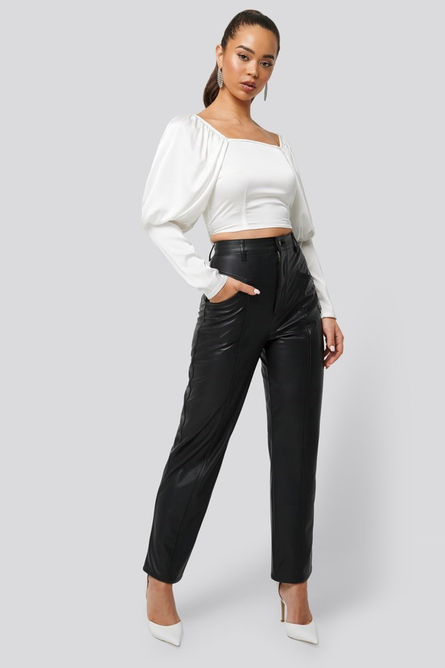 Cropped Puff Sleeve Satin Blouse