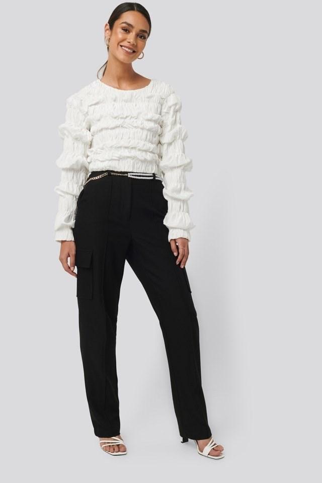 Straight Fit Pocket Suit Pants