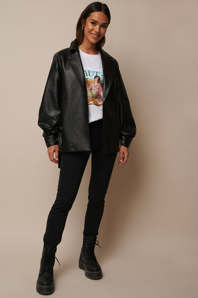 Faux Leather Oversized Blazer Outfit