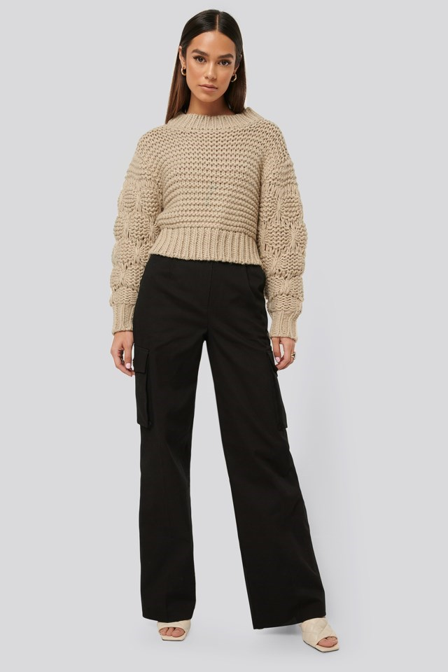 Bubble Sleeve Knitted Sweater Outfit