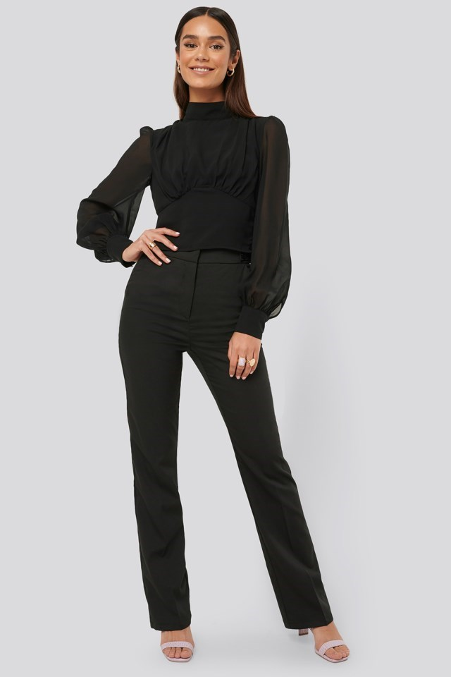 High Neck Puff Sleeve Blouse Outfit