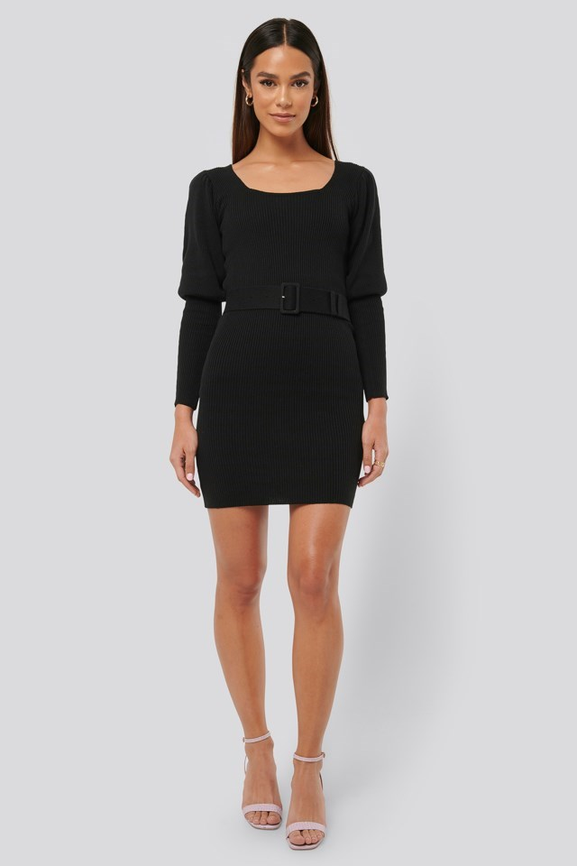 Puff Sleeve Knitted Dress