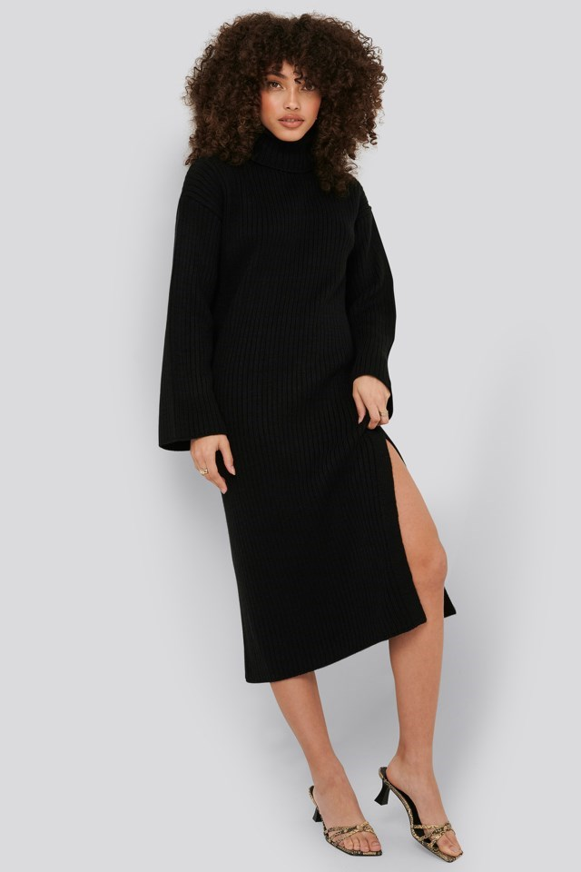 Ribbed Knitted Midi Dress Outfit