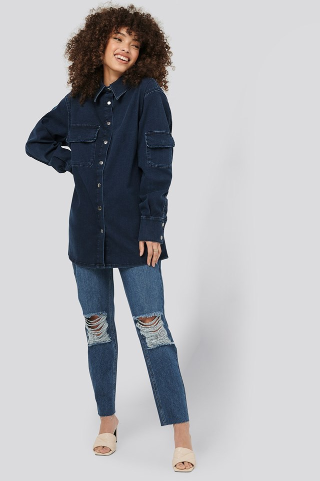 Front Pocket Denim Shirt Outfit