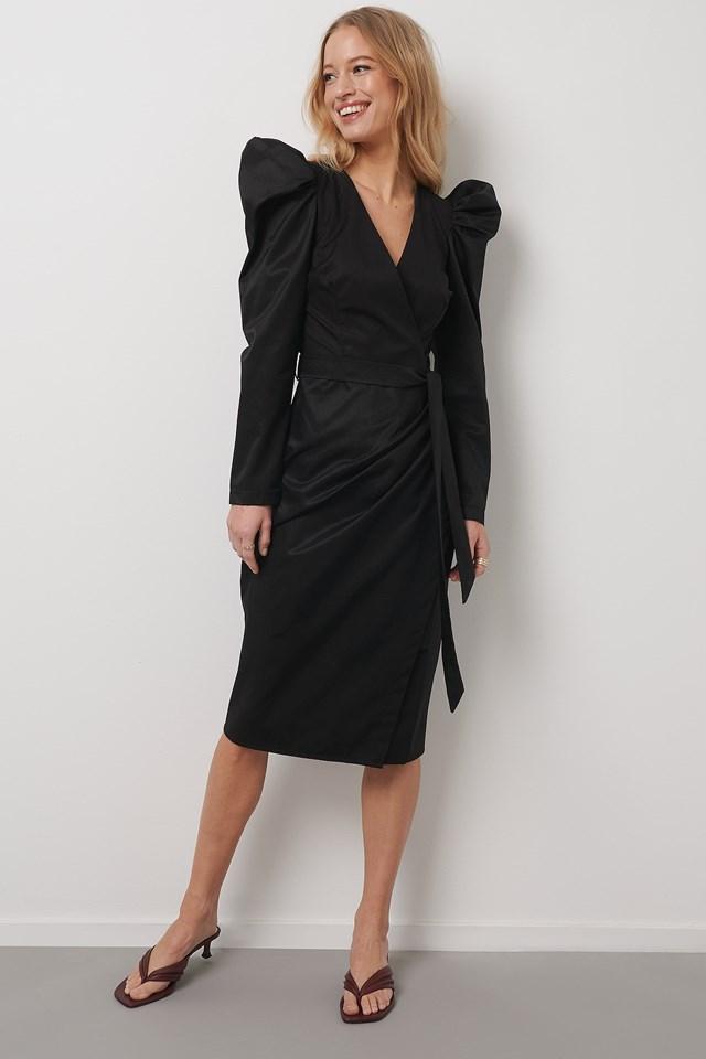 Puffy Sleeve Overlap Midi Dress