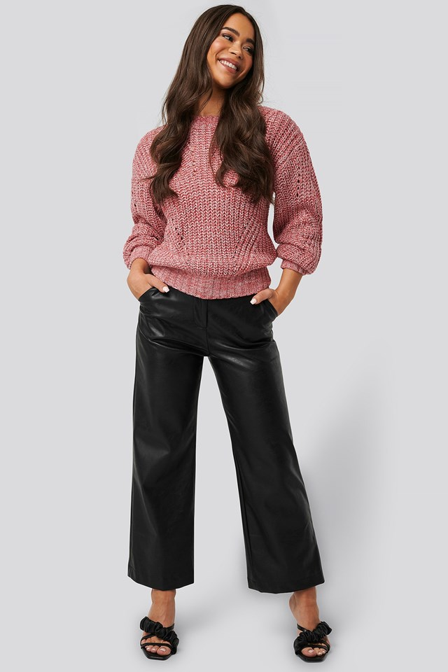 Melange Round Neck Knitted Sweater Outfit