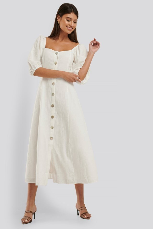 Puff Sleeve Button Down Midi Dress