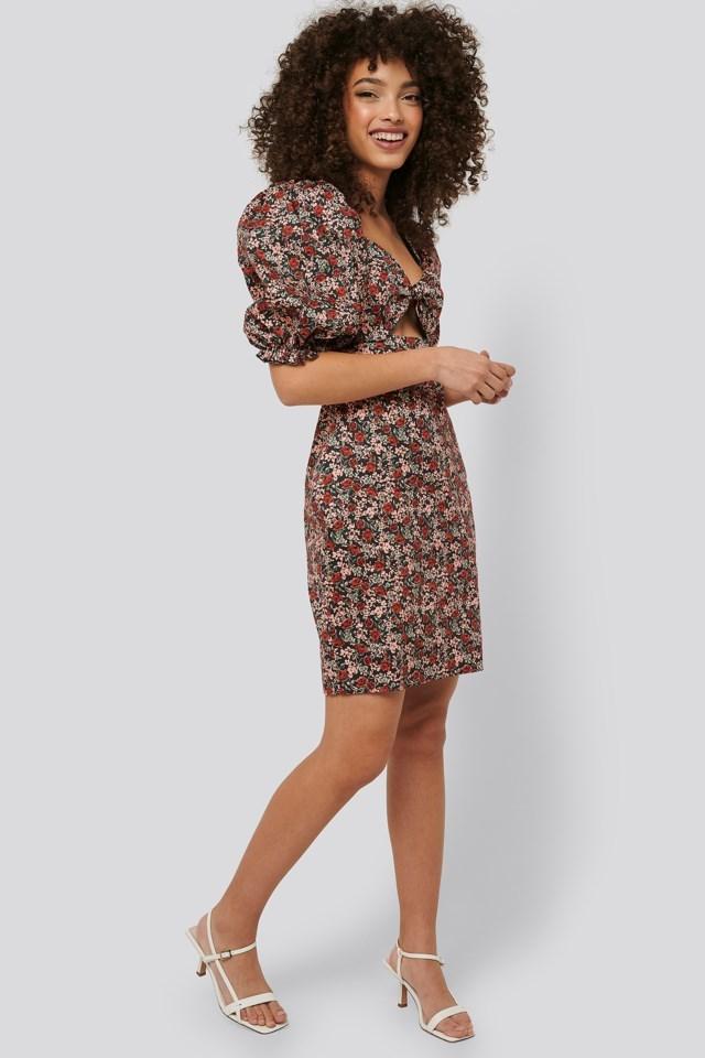 Waist Low Cut Mini Dress