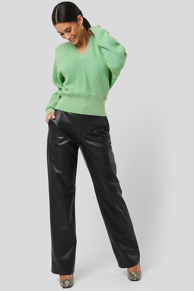 Overlap Knitted Tie Detail Sweater Outfit