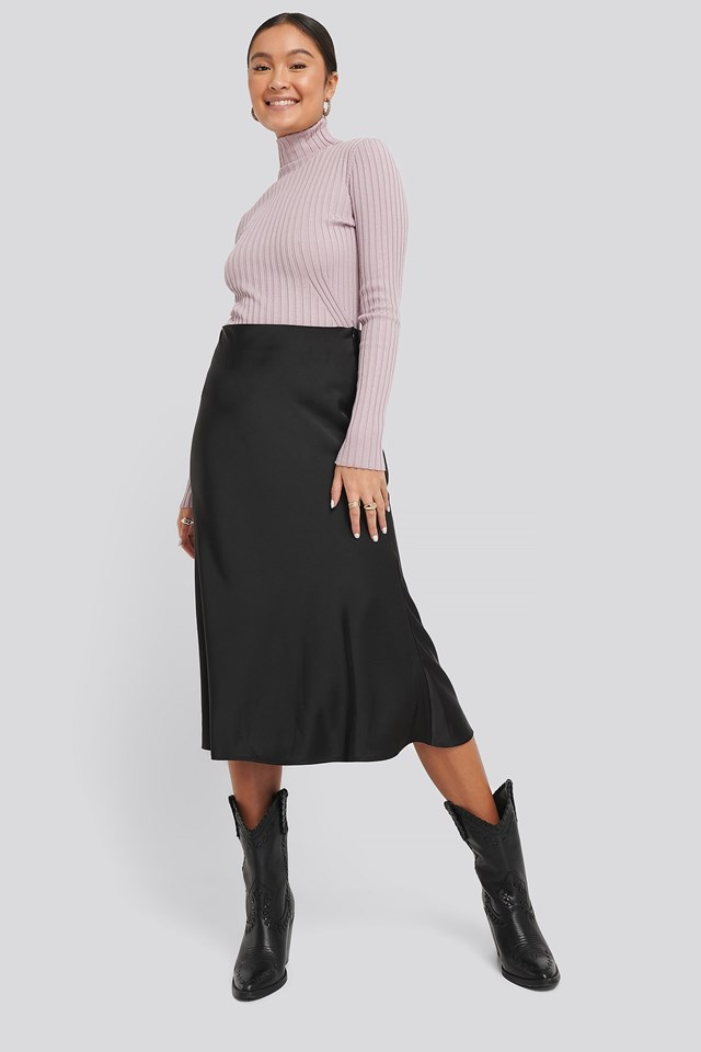 Ribbed Detail Knitted Polo Sweater Outfit
