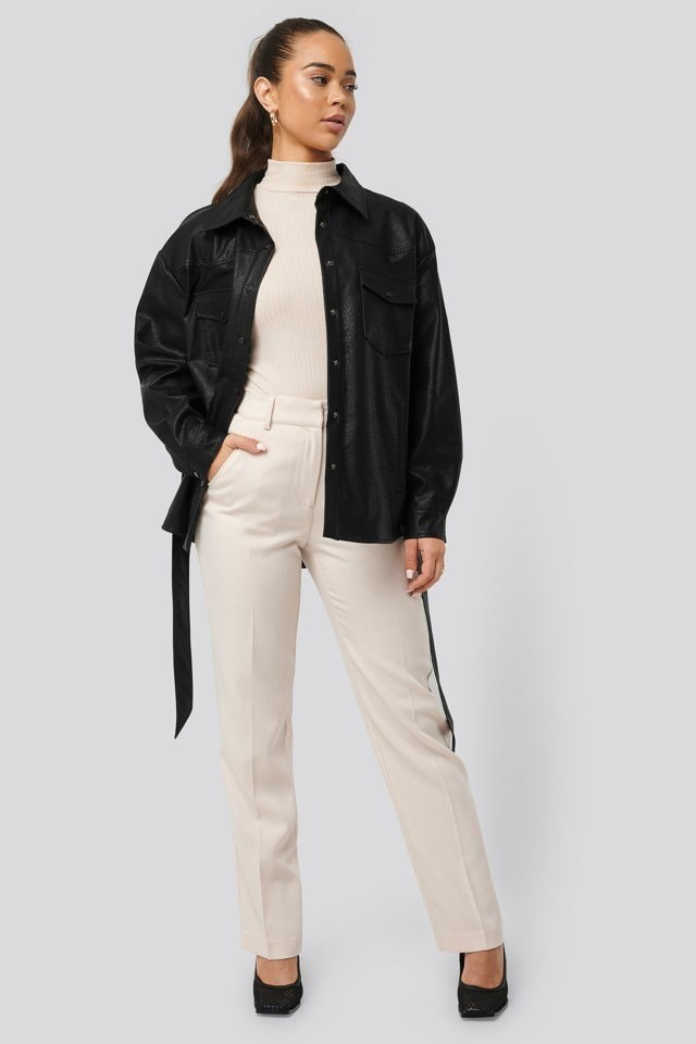 Chest Pocket Belted PU Jacket